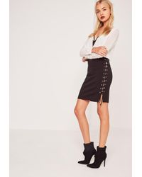 Missguided Lace Up Eyelet Side Mini Skirt Black