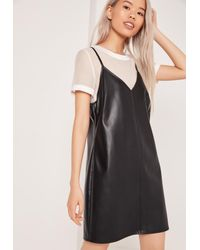 Missguided Two In One Faux Leather Dress Black