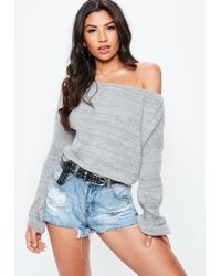 Missguided Gray Off Shoulder Balloon Sleeve Crop Sweater