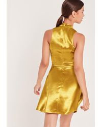 Missguided Metallic Silky High Neck Cut Out Skater Dress Gold