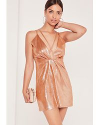 Missguided Multicolor Strappy Foiled Faux Suede Bodycon Dress Nude