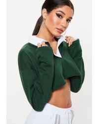 Missguided Green Boxy Rugby Crop Top