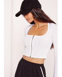 Missguided Square Neck Ribbed Zip Front Crop Top White