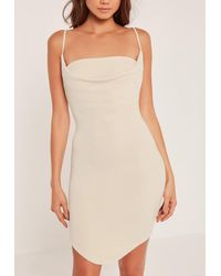 Missguided Metallic Cowl Front Lurex Bodycon Dress Gold