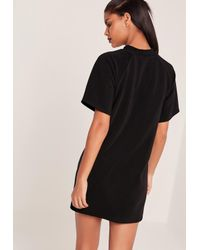 Missguided Short Sleeve Oversized T-shirt Dress Black