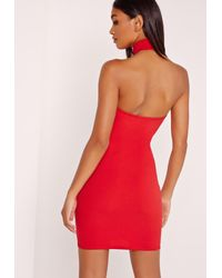 Missguided Hoop Detail Halter Bodycon Dress Red