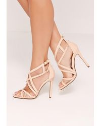 Missguided Multicolor Mesh Panelling Strappy Gladiator Heels Nude