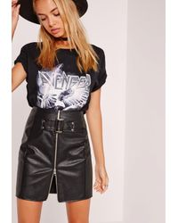 Missguided | Buckle Front A-line Faux Leather Mini Skirt Black | Lyst