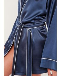 Missguided Blue Kimono Piped Detail Silk Robe Navy
