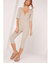 Missguided Gray Faux Suede Short Sleeve 3/4 Leg Unitard Jumpsuit Grey