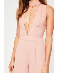 Missguided - Blue Crepe Choker Detail Jumpsuit Nude - Lyst