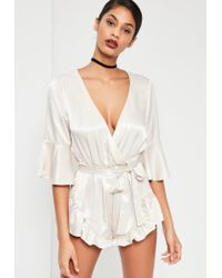 Missguided Multicolor Nude Silky Flutter Short Detail Playsuit
