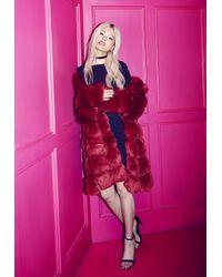 Missguided Red Bubble Faux Fur Coat