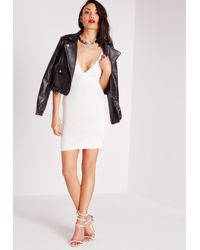Missguided - Ponte Plunge Bodycon Dress White - Lyst
