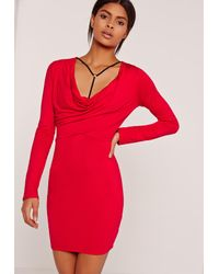 Missguided Cowl Neck Harness Bodycon Dress Red