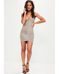 Missguided Gray Grey Bonded Faux Suede Strappy Bodycon Dress