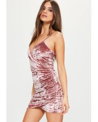 Missguided Pink Crushed Velvet Wrap Strappy Dress
