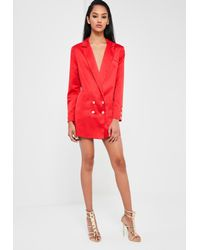 d1fcf05f9d6 Lyst - Missguided Peace + Love Red Satin Button Blazer Dress in Red