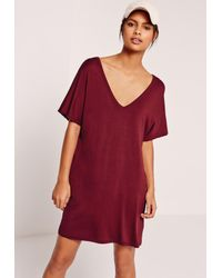 Missguided Red Wide V Neck T-shirt Dress