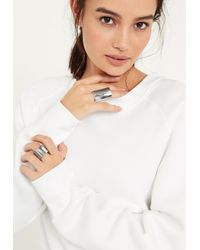 Missguided | Metallic Silver Chunky Statement Two Pack Rings | Lyst