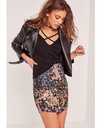 Missguided | Multicolor Petite Exclusive Curve Hem Animal Print Snake Skirt Khaki | Lyst