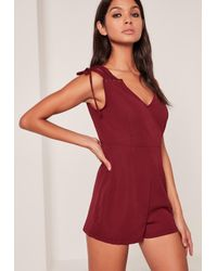 Missguided | Red Lace Up Shoulder Playsuit | Lyst