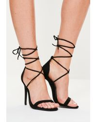 2f400aa1fbef Lyst - Missguided Lace Up Barely There Heeled Sandals Black in Black