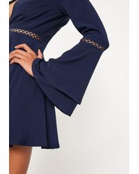 Missguided Blue Navy Flare Sleeve Ladder Trim Choker Skater Dress