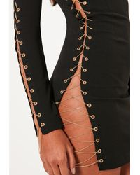 Missguided Black Gold Chain Lace Up Mini Dress