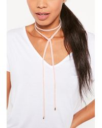 Missguided - Pink Velvet Wrap Choker Necklace - Lyst