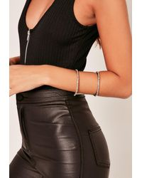 Missguided | Metallic Diamante Cuff Bangle Silver | Lyst
