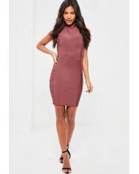 Missguided Premium Purple Bandage Ring Side Detail Mini Dress