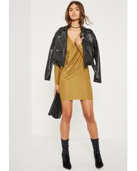 Missguided Green Silky Wrap Bodycon Dress