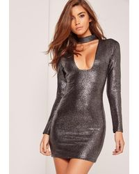 Missguided Choker Plunge Long Sleeve Metallic Bodycon Dress Silver