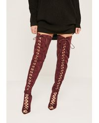 Missguided | Multicolor Burgundy Lace Up Thigh High Gladiator Boots | Lyst