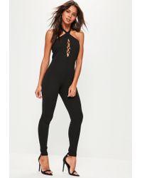 Missguided | Black Lace Up Front Halterneck Jumpsuit | Lyst