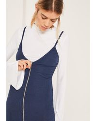 Missguided Blue Flared Sleeve Zip 2 In 1 Dress