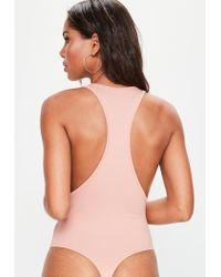 Missguided - Multicolor Peach Racer Back Plunge Bodysuit - Lyst