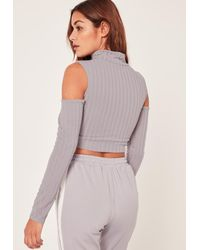 Missguided Gray Grey Jumbo Ribbed Cut Out Detail Sleeve Crop Top