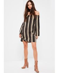 Missguided | Multicolor Multi Dark Stripe Bardot Dress | Lyst