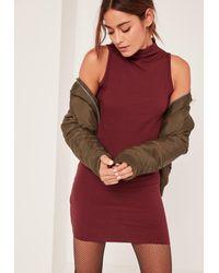 8420876fa330 Missguided Burgundy Petite High Neck Ribbed Mini Dress - Lyst