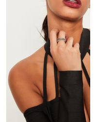 Missguided | Brown Diamante Stacking Ring Set | Lyst
