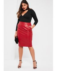 52f8950bc7f Lyst - Missguided Plus Size Exclusive Red Faux Leather Midi Skirt in Red