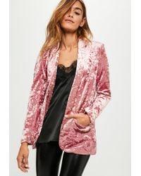 Missguided - Pink Crushed Velvet Blazer - Lyst