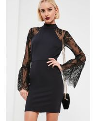 Missguided | Black Lace Sleeve Bodycon Dress | Lyst