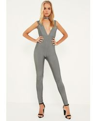 Missguided Gray Premium Grey Bandage Wide Plunge Neck Jumpsuit