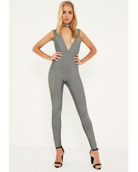 Missguided - Gray Premium Grey Bandage Wide Plunge Neck Jumpsuit - Lyst
