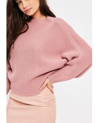 Missguided Pink Batwing Cropped Jumper