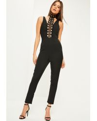 Missguided | Black Lace Panel High Neck Jumpsuit | Lyst