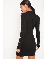 Missguided | Black High Neck Popper Detail Bodycon Dress | Lyst